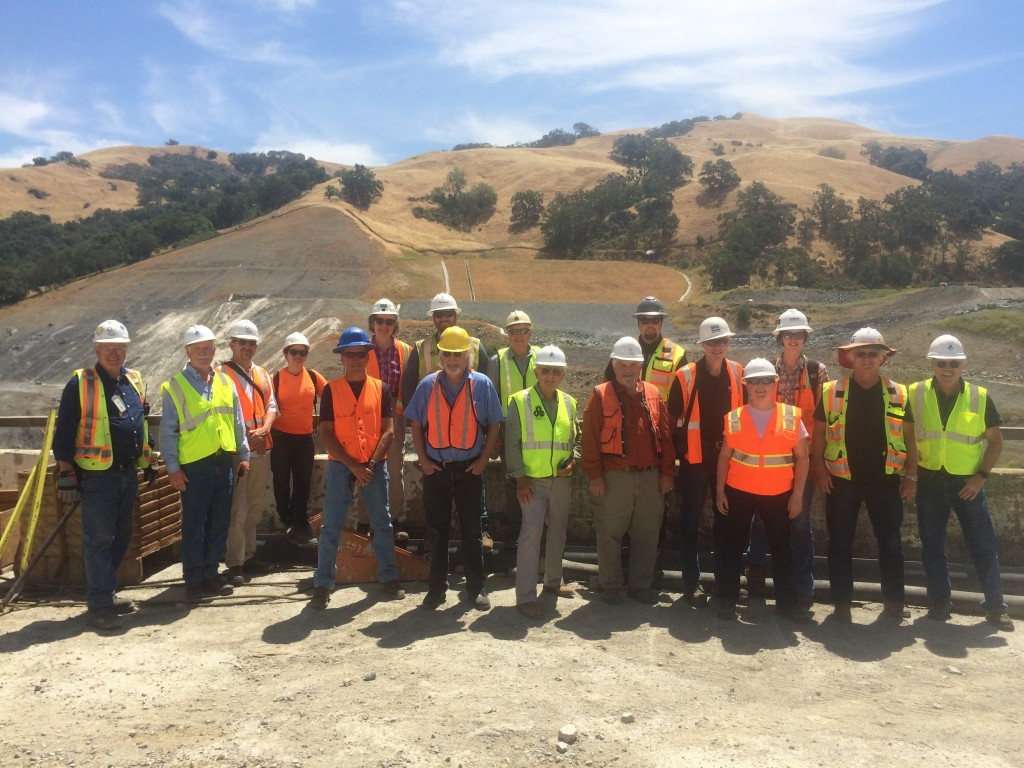 Field trip participants gathered at the left abutment.